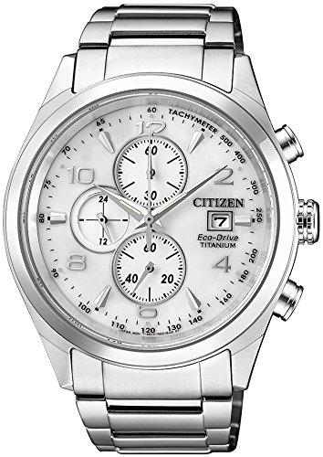 Citizen - Super TitaniumCrono ca0650-82a - Montre solaire en titane, cadran blanc, bracelet en titane