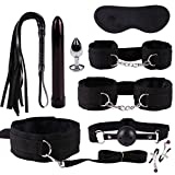 SM Sex Toys Set 9PCS Frusta a Spina Vibrante anale in Pelle con Frusta a Sette Pezzi Plugs anale Whip Mask Maschera Hollow Ball Nipple Clamps Plug Spina -Honestyi