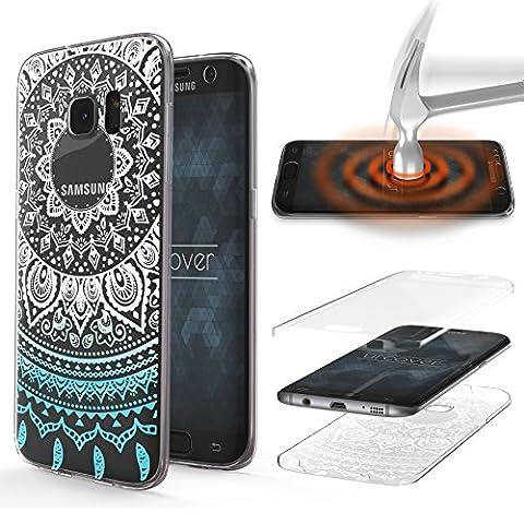 URCOVER® Coquille Tactile 360 degrés | Samsung Galaxy S7 Edge | Dream Catcher Mandala in Bleu | Silicone Transparent Doux Protection Écran 3d Étui Housse Mince Tribal