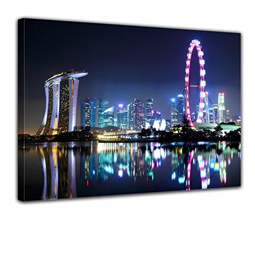 Wandbild - Singapur bei Nacht - Bild auf Leinwand - 70x50 cm 1 teilig - Leinwandbilder - Städte & Kulturen - Asien - Skyline - Hotel Marina Bay Sands - Singapore Flyer - Riesenrad