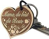 """Schlüsselanhänger """"Mama, du bist die Beste"""" sehr gute Qualität Muttertag Geschenk mit Rose aus Holz Gravur vom ORIGINAL endlosschenken"""