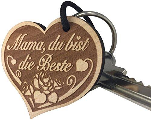 Schlüsselanhänger Mama, du bist die Beste sehr gute Qualität Muttertag Geschenk mit Rose aus Holz Gravur vom ORIGINAL endlosschenken