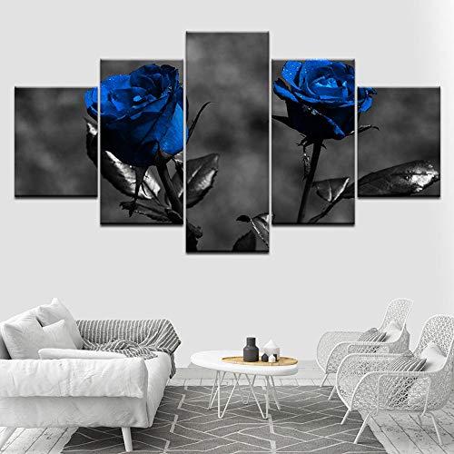 ACCEY Leinwand Kunstdrucke Wand 5 Stücke Blossom Blue Rose Blumen Moderne Rahmen Für Gemälde Dekor Modulare Bild Kinderzimmer Poster @ Framed_30X40_30X60_30X80cm