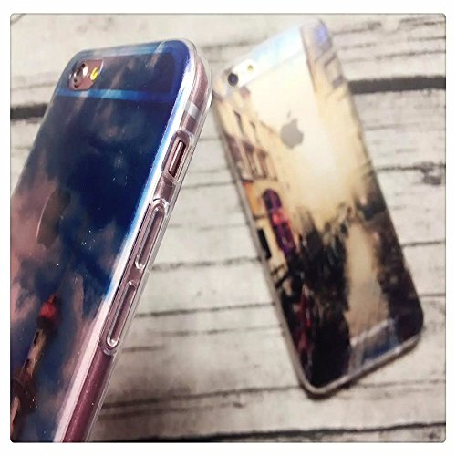 """Coque iPhone 6 6S 4.7"""" Bumper, TKSHOP Etui Housse pour iPhone 6 6S Case Ultra-slim Mince Couverture Souple Doux TPU + PC 2 in 1 Hybride Plastique Silicone Couvrir Transparent Anti-rayures et Anti Choc Paysage 26"""