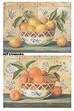 Cuadro de Cocina de Madera Limones Naranjas. Set de 2 Unidades de 19x25 cm Cada Cuadro