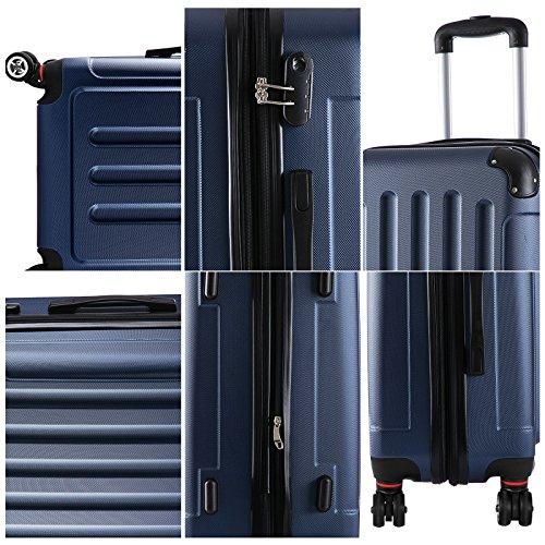 WOLTU RK4201bl, Reise Koffer Trolley Hartschale Volumen erweiterbar, Reisekoffer Hartschalenkoffer 4 Rollen, M/L/XL/Set, leicht und günstig, Blau (M, 55 cm & 42 Liter) - 3