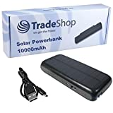 TradeShop Premium Outdoor 2in1 Solar Ladegerät mit integriertem 10000mAh Akku / Power Bank, Dual USB Charger für Wiko Freddy Harry Jerry 2 Lenny 4 Plus Lenny 4 Sunny 2 Tommy 2 Plus U Feel Fab Prime Upulse Lite View Prime XL WIM Lite