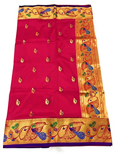 Hariom Paithani Art silk saree (hwdd28-10) Rani with Blue Blouse.