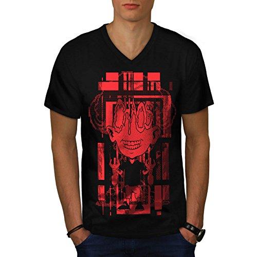 Verrückt Wissenschaftler Horror Bombe Kind Herren M V-Ausschnitt T-shirt | Wellcoda