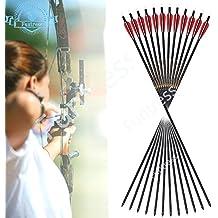 """Funtress 12 pcs 32 """"Fibra de carbono 3"""" / 4 """"Flechas de plumas de palas de caza con puntos de campo Consejos reemplazables para arco recurvo y arco compuesto"""