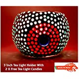 Ethnic Handmade Glass Votive Tea Light Candle Holder 3 Inches - Colourful Centrepiece For Table Tea Light Holders - Home Decor Diwali Decoration & Gift Item - 1 Piece Tea Light Holder With 2 Tea Light Candles In Each Pack