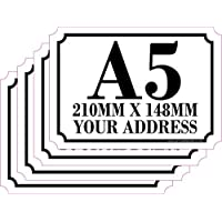 The Lazy Cow Personalised Printed Wheelie Bin Number Stickers with number and road Name - A5 Vinyl Waste Container Decals - set of 4 1 (A5) CUSTOM BIN LABELS