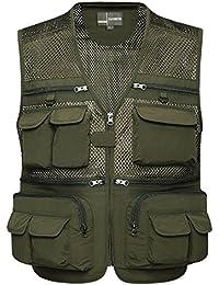 Zicac-modèle 18 Gilet de pêche sans manches en maille ,gilet de photographie multi-poches pour les hommes