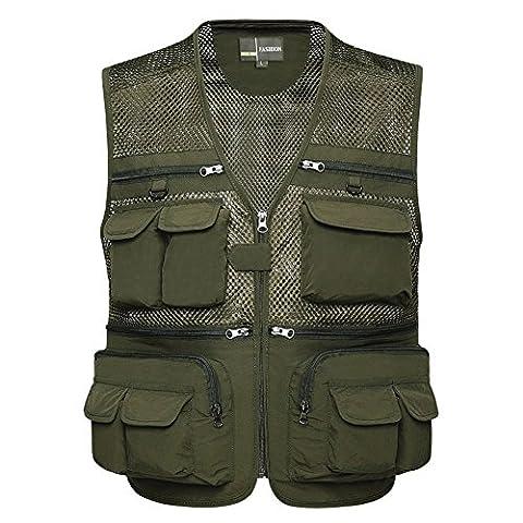 Zicac Männer Reißverschluss Multi-Tasche Netz Breathable Ineinander greifen Weste Angeln Vest für Camping Jagd Fischen Fotografie