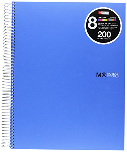 basicos-mr-43004-notebook-8-colours-a4-200-sheets-horizontal-polypropylene-blue