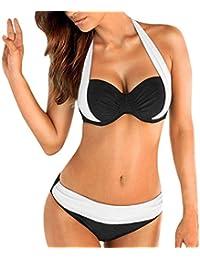 Yuson Girl Mujer Ropa de Baño Tops de Bikini con Relleno Traje de Baño Push up Bañador de Cuello Hálter Mujer Push-up Bikini