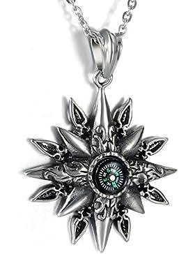 Oidea Herren Halskette mit Anhänger, Edelstahl Vintage Sonnengott Kompass Anhänger Kette, Silber Schwarz
