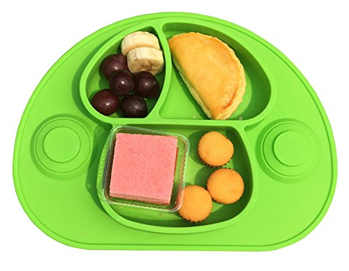 Strong Suction Silicone Placemat and Tray Bowls Plate for Babies,Food Grade Silicone, Phthalate Free, Not Breakable, Dishwasher safe best for Highchair (green)