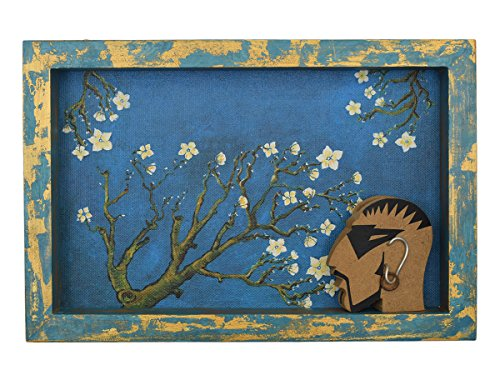 Decorative Wooden Serving Tray Tea Snack Dessert Parties Serveware Dining Accessory (Blue)