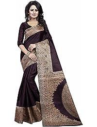 Harikrishnavilla Women's Silk Cotton Saree (Kalam Brown Sari, Brown, Free Size)
