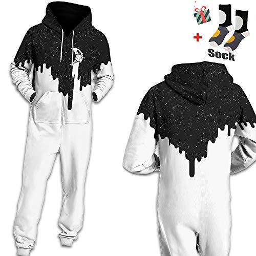 Morbuy Herren Jumpsuit Jogger, Unisex Herren Kapuzenpullover Strampelanzug 3D Printed Onepiece Sweatshirt Männer Strampler Weich Nachtwäsche Fitness Bekleidung (L, Grau-schwarzes Dreieck)