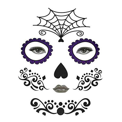Fenteer Halloween Temporäre Gesicht Tattoo Kit Party Aufkleber Für Männer Frauen - Spinnennetz