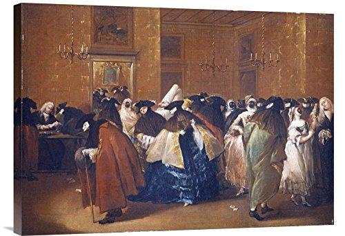 t gcs-264969–76,2–360,7cm Francesco Guardi Damen und Herren in Karneval Kostüm in die Ridotto Venice Galerie Wrap Giclée-Kunstdruck auf Leinwand Art Wand (Kunst Galerie Kostüm)