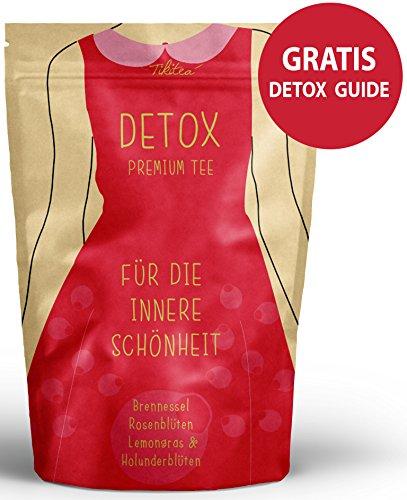 Detox Tee - Fastenkur & Entschlackungskur - Gratis Detox Guide - Mit Brennesselblätter, Lemongras & Rosenblüten - natürliche Kräuterteemischung, Entschlackungstee -