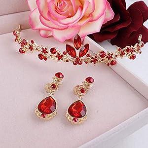 Littlefairy Braut Diadem Rote Krone Ohrringe Zweiteilige Chinesischen Large-Stil Ohrringe Toast Kleid Zubehör Set
