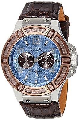 Guess W0040G10 - Reloj con correa de piel, para hombre, color azul / marrón