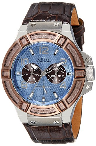 Guess Men's Quartz Watch with Blue Dial Analogue Display and Brown Leather Bracelet W0040G10