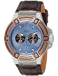 Guess Herren-Armbanduhr Rigor Analog Quarz Leder W0040G10