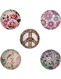 Morella–® de mujer Click Button Set 5Unidades Impresión Botones Rosas y estampado de cachemir