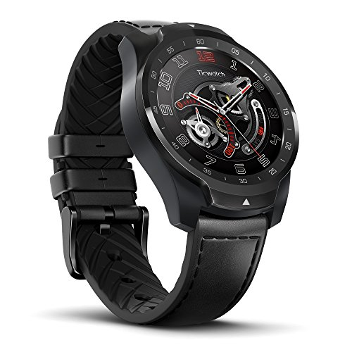 Ticwatch PRO Smartwatch mit Herzfrequenzsensor (Android Wear, GPS, Google Wear OS, NFC) Sportuhr Kompatibel mit Android und iOS Multilayer Display und Lederriemen, Schwarz