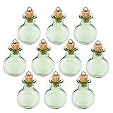 BESTOMZ Mini Glasfläschchen mit Korkverschluss / kleine Glasflaschen / Mini Flasche / Mini Fläschchen mit Korken 10 Stk (Green)