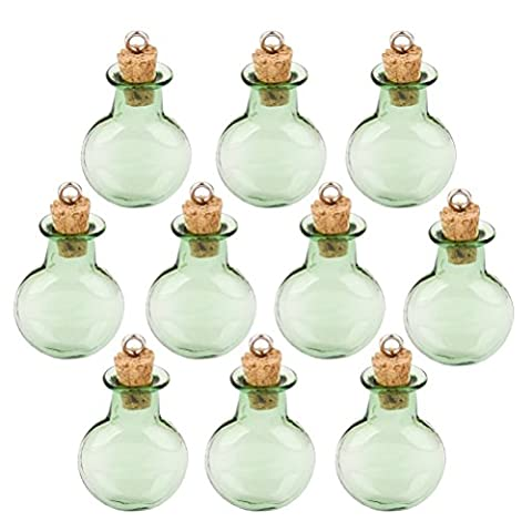 ROSENICE Bottles Cork Mini bottle Round Flat Vial Wishing Bottle DIY Pendants in Green 10 Pack