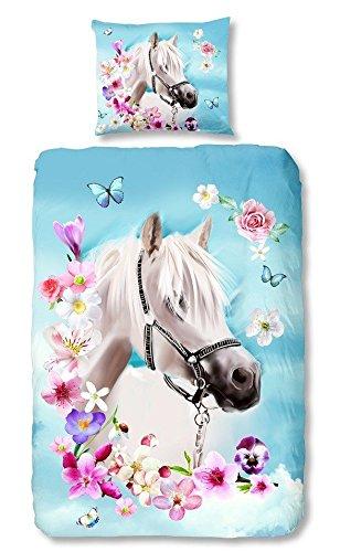 Good morning 4924-P, 135cm bettwäsche mit Kissenbezug weißes Pferd, 100 Prozent Baumwolle, mehrfarbig, 200 x 135 x 0,5 cm (100 Bettwäsche Baumwolle Prozent)