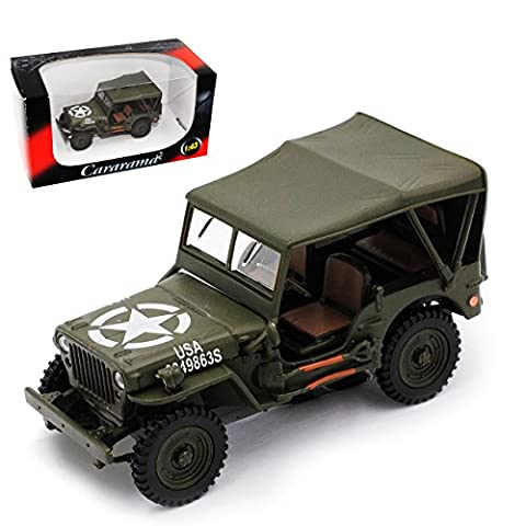Jeep Willys 1/4 TON Army Truck Grün USA Army 2. Weltkrieg mit Dach 1/43 Cararama Modell Auto mit individiuellem