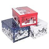 Aufbewahrungsboxen mit Deckel und Griffen für Unterbettkommoden, aus Karton, mit Weihnachtsmotiv, zusammenklappbar, 3 Stück
