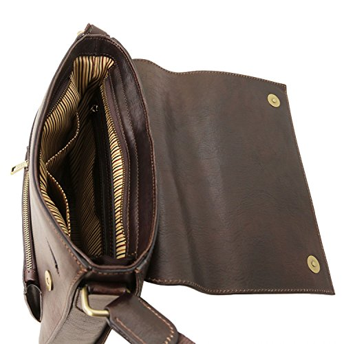 Tuscany Leather Oliver Borsello da uomo in pelle con tasca frontale Miele Testa di Moro