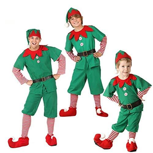 Puimentiua Elfen Kostüm Set Weihnachtskostüm Wichtel Weihnachtself Kostüm Weihnachtspyjamas 90CM-180CM für Damen Herren - Grinch Kostüm Baby
