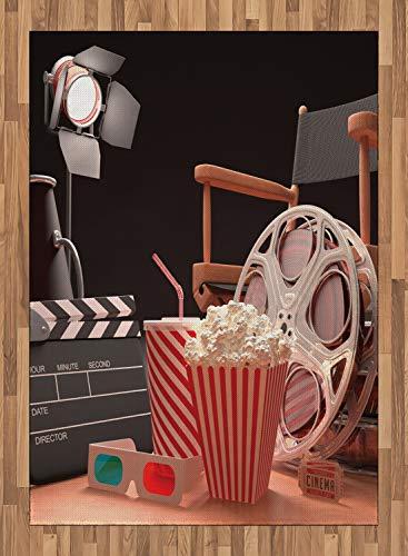 ABAKUHAUS Kino Teppich, Filmindustrie, Flachgewebe Deko-Teppiche fürs Wohnzimmer Schlafzimmer und Essenszimmer, 160 x 230 cm, Multicolor
