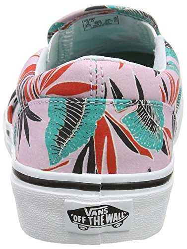 Vans Uy Classic Slip-On, Scarpe da Ginnastica Basse Bambina Rosa (Tropical Leaves)
