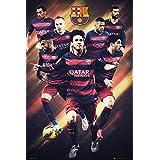 """Póster FC Barcelona """"Estrellas del Fútbol 2015/2016"""" (61cm x 91,5cm) + 2 marcos negros para póster con suspención"""