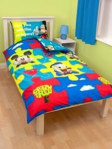 Parure linge de lit Housse de couette + Taie d oreiller Enfant Mickey Disney pour un lit 1 Personne