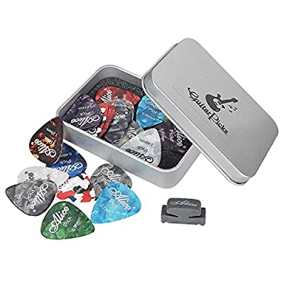 HusDow 20pcs Guitar Picks with Rubber Pick Holder, Guitar Plectrums Including 0.46mm 0.71mm 0.81mm 0.96mm 1.2mm ,Perfect for Electric, Acoustic or Bass Guitar