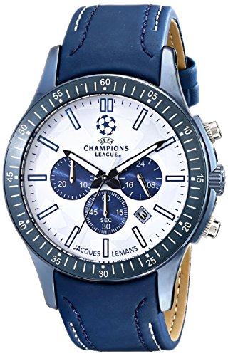 Jacques Lemans Herren-Armbanduhr UEFA Analog Quarz Leder U-43A