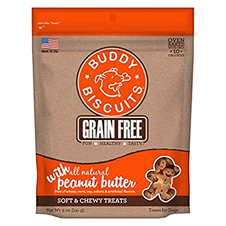 Cloud Star Getreide Handarbeiten Kostenlose Weiche und Chewy Buddy Biscuits Dog Treats, Peanut Butter, 142g
