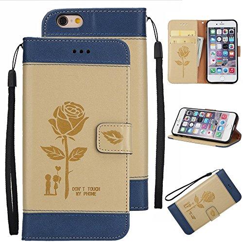 Gemischte Farben Rose Blume matt Premium PU Leder Brieftasche Stand Case Cover mit Lanyard & Card Slots für iPhone 6 und 6s ( Color : Black ) Gold