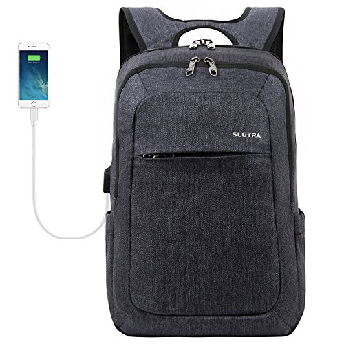 Laptoprucksack USB-Ladeanschluss Business15.6 Zoll Slim Backpack Schule Outdoor Resien(dunkelgrau)